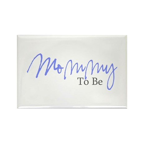 Mommy To Be (Blue Script) Rectangle Magnet (100 pa