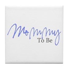 Mommy To Be (Blue Script) Tile Coaster