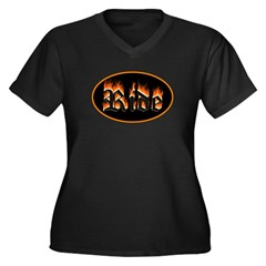 Ride Biker Fire Women's Plus Size V-Neck Dark T-Sh