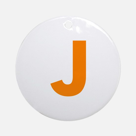 Letter J Orange Ornament (Round)
