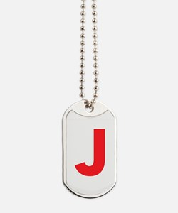 Letter J Red Dog Tags