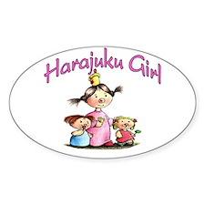 Harajuku Girl Oval Decal
