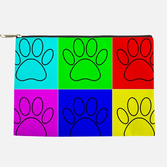 Dog Paws In Squares Makeup Pouch