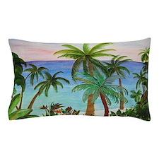 Aqua Beach Palms Pillow Case