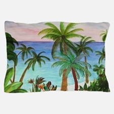 Aqua Beach Palms Pillow Case