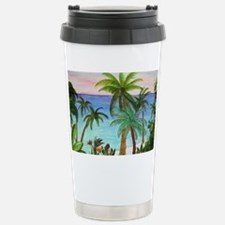 Aqua Beach Palms Stainless Steel Travel Mug
