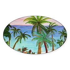 Aqua Beach Palms Decal
