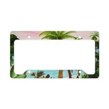 Aqua Beach Palms License Plate Holder