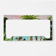 Aqua Beach Palms License Plate Holder