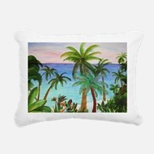 Aqua Beach Palms Rectangular Canvas Pillow