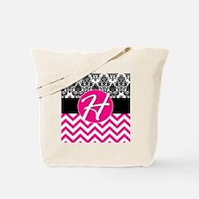 H Pink Monogram Tote Bag