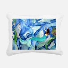 Dolphins and Memraid Art Rectangular Canvas Pillow