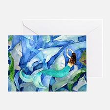 Dolphins and Memraid Art Greeting Card