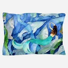 Dolphins and Memraid Art Pillow Case