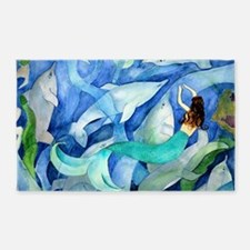 Dolphins and Memraid Art 3'x5' Area Rug