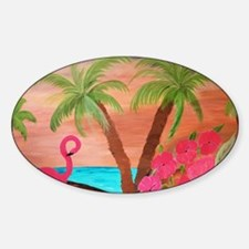 Flamingo in paradise Sticker (Oval)