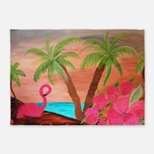 Flamingo in paradise 5'x7'Area Rug