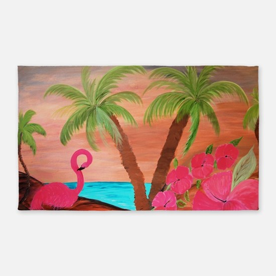 Flamingo in paradise 3'x5' Area Rug