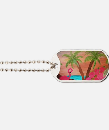 Flamingo in paradise Dog Tags