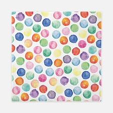 Watercolor Polka Dots Queen Duvet