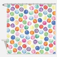 Watercolor Polka Dots Shower Curtain