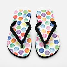 Watercolor Polka Dots Flip Flops