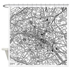 Vintage Map of Paris France (1911) Shower Curtain