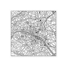 """Vintage Map of Paris France Square Sticker 3"""" x 3"""""""