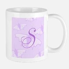 Purple Monogram and Butterflies Mugs
