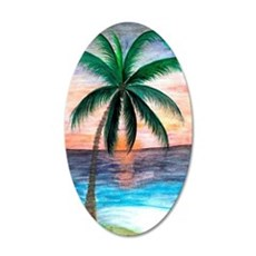 Sunset Palm Tree 35x21 Oval Wall Decal
