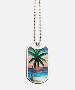 Sunset Palm Tree Dog Tags
