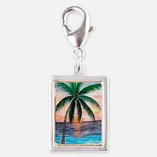 Sunset Palm Tree Silver Portrait Charm