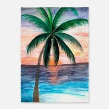 Sunset Palm Tree 5'x7'Area Rug