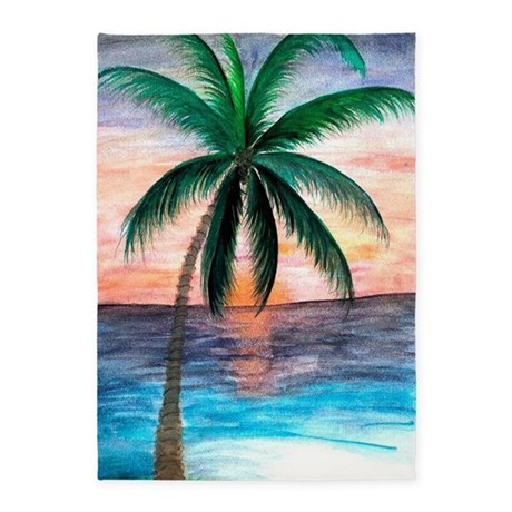 Sunset Palm Tree 5u0027x7u0027Area Rug