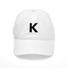 Letter K Black Baseball Baseball Cap