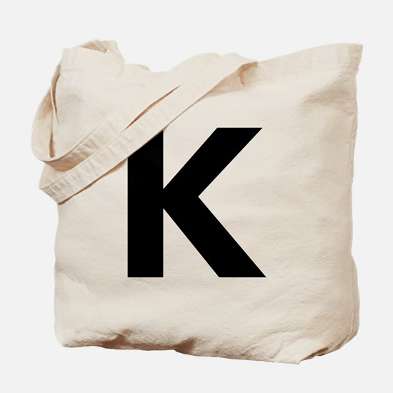 Letter K Black Tote Bag