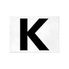 Letter K Black 5'x7'Area Rug