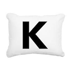 Letter K Black Rectangular Canvas Pillow