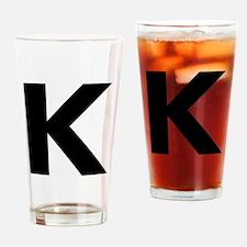 Letter K Black Drinking Glass