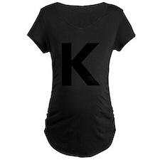 Letter K Black Maternity T-Shirt