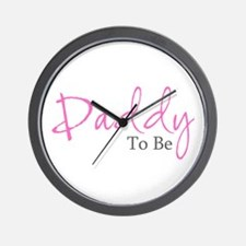 Daddy To Be (Pink Script) Wall Clock