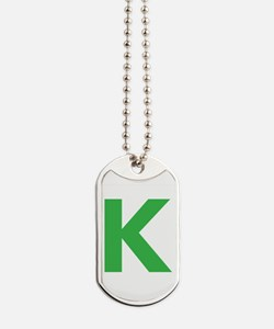 Letter K Green Dog Tags