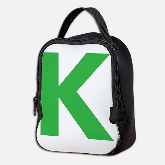 Letter K Green Neoprene Lunch Bag