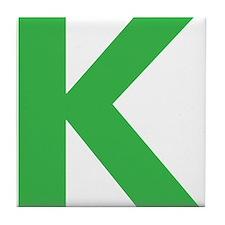 Letter K Green Tile Coaster