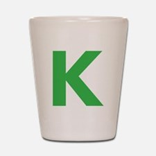 Letter K Green Shot Glass