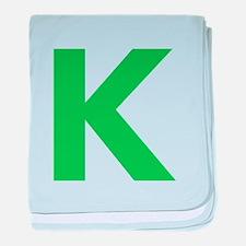 Letter K Green baby blanket