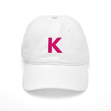 Letter K Pink Baseball Baseball Cap