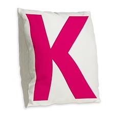 Letter K Pink Burlap Throw Pillow