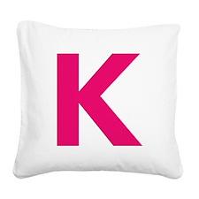 Letter K Pink Square Canvas Pillow
