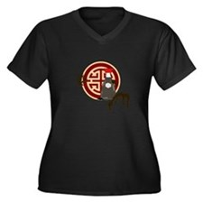 Unique Cool chinese Women's Plus Size V-Neck Dark T-Shirt